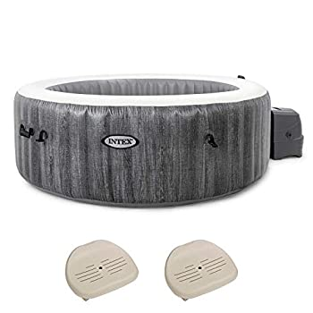 Intex 28441E PureSpa Greywood Deluxe 6 Person Portable Inflatable Hot Tub Jet Spa with Non-Slip Seat Insert for Inflatable PureSpa Hot Tub 2 Pack