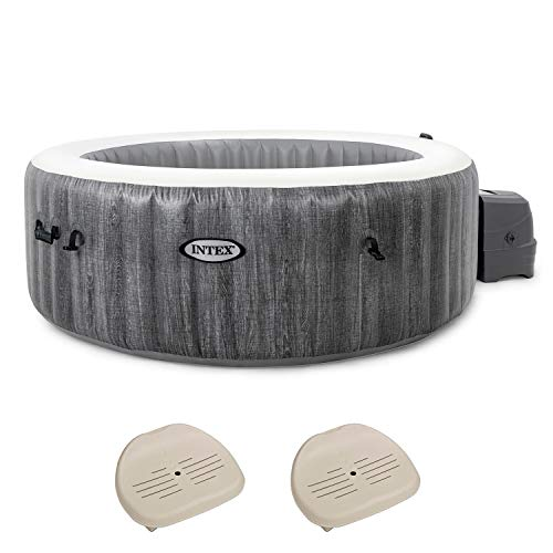 Intex PureSpa Greywood Deluxe 6 Person Portable Inflatable Hot Tub Jet Spa, Gray & Intex Seat For Inflatable PureSpa Hot Tub (2 Pack)