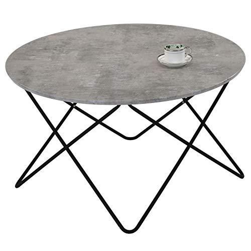 IDIMEX Couchtisch Santorini rund, Tischplatte in Betonoptik, Beistelltisch Wohnzimmertisch, Fußgestell aus Metall, modernes Design
