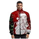 Momoxi Giacca Natalizia da Uomo, Ugly Christmas Uomo Xmas Jacket Casual 3D Print Santa Sportswear Cappotto A Uomoiche Lunghe Cappotto con Cappuccio Modello Pupazzo di Neve di Santa