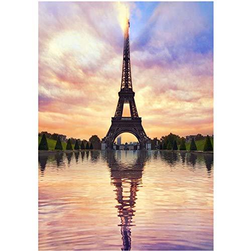 Home Decor - Pintura de diamantes de imitación de la Torre Eiffel, bricolaje en 5D, cuadro de punto de cruz, decoración de pared, manualidades, regalo de 30,5 x 40,6 cm