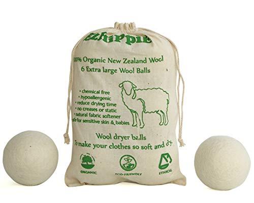 Bolas de lana natural para secadora - suavizan el tejido, reducen las arrugas y son reutilizables - paquete de 6 [XL)