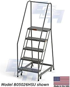 "Fully Assembled 5-Step Steel Industrial Rolling Ladder, EGA CA-MB5026HSU, 24"" Wide Perforated Tread, Grey, 450lb. Capacity"