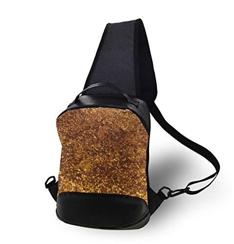 Teens Gold Highlights Pattern Gym Bag - Cool Casual Chest Bag, Anti-Theift Sling Shoulder Adjustable Daypacks, Large Capacity Books Bottle Camera Sack Bag,13inch