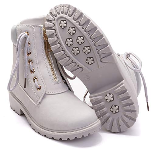 DADAWEN Women's Round Toe Waterproof Ankle Bootie Lace Up Low Heel Work Combat Boots Light Gray US Size 8.5