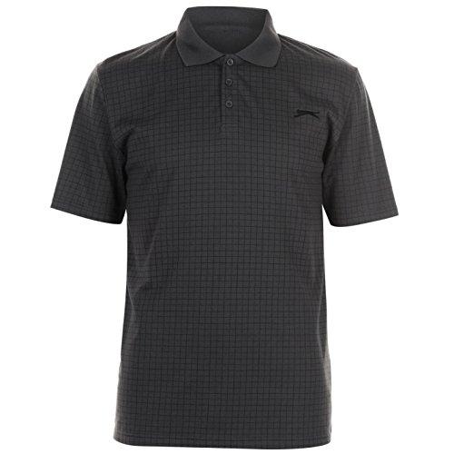 Slazenger Herren Golf Polo Shirt Kariert Kurzarm Anthrazit 3XL