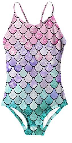 RAISEVERN Ein Stück Badeanzug Mehrfarben,Sweet Mermaid,3-4Jahre (Etikette S)