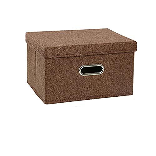 Parshall Caja de almacenamiento plegable de tela de almacenamiento gruesa y resistente, ahorro de espacio, lavable con tapa para organizar, ropa, dormitorio, libros, oficina, hogar marrón 3