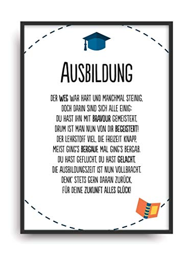 Geschenk Karte AUSBILDUNG Kunstdruck Azubi Abschluss Prüfung bestanden Bild ohne Rahmen DIN A4