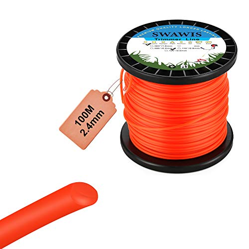 SWAWIS Hilo Desbrozadora 2,4mm x 100m Hilo para Desbrozadora Nylon Hilo de Corte Redonda Naranja para Jardin Hierba