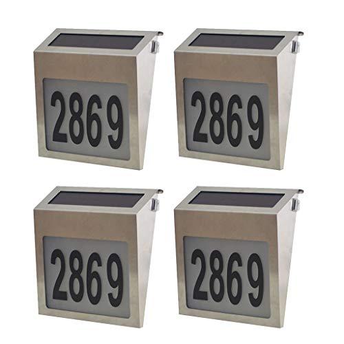 Baoblaze 4er LED Hausnummer Solalampe, Automatische Dämmerungsschalter mit Zahlen Buchstaben, wasserdicht