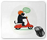 Scottie Dog Illustration of a Puppy Riding Scooter with Woof Woof Text Balloon Comic Design, Multicolor Mouse Pad
