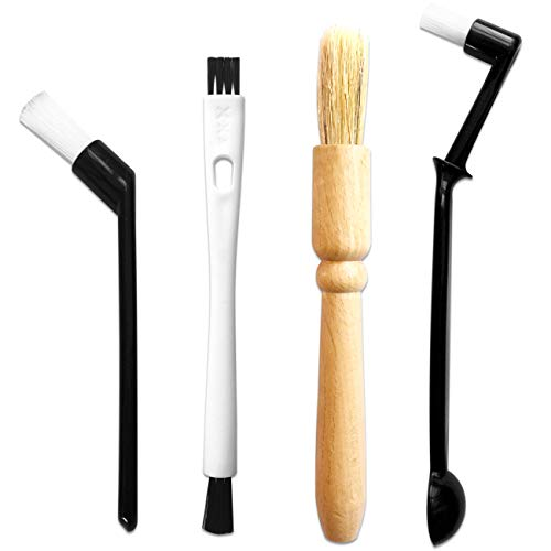 ACKLLR Coffee Grinder Cleaning Brush, Heavy Wood Handle & Natural Bristles Wood Dusting Espresso Brush and Nylon Espresso Machine Brush with Spoon for Bean Grain Barista Pasta Makers Home Kitchen