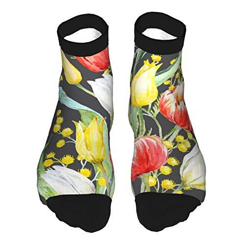 Uosliks Aquarell Mimose und Tulpenmuster Kissen Athletic Work Crew Socken für Herren Damen