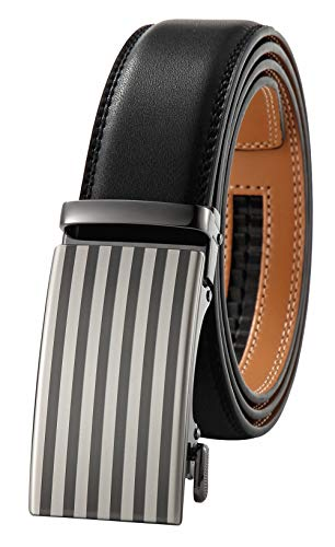 GFG Herren Gürtel,Leder Automatik Gürtel Für Herren Jeans Anzug Gürtel-3,5cm Breite-0053-125-BLACK NA PA