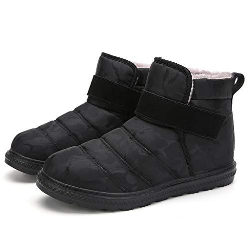 Poamen Paar Schneestiefel Anti-Rutsch Warm Baumwolle Schuhe Casual High Top Fuß Schnalle Schuhe Stahl-Zehe Sneaker Leichte Arbeitsschuhe, Schwarz - a - Größe: 43.5 EU