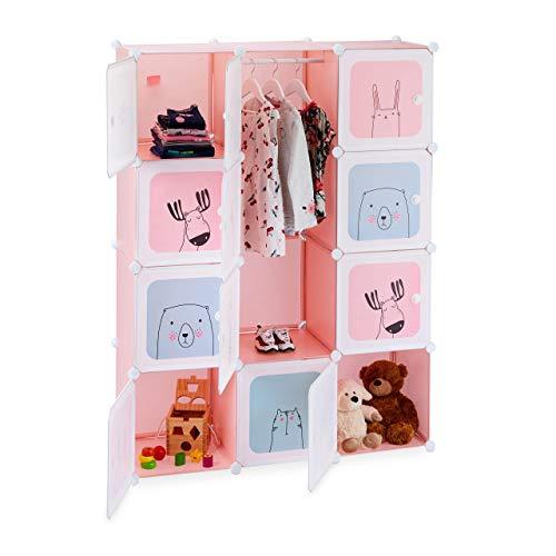 Relaxdays Estantería Infantil, para niñas, Plástico, Modular, con Puertas, 145x110x37,5 cm, Rosa