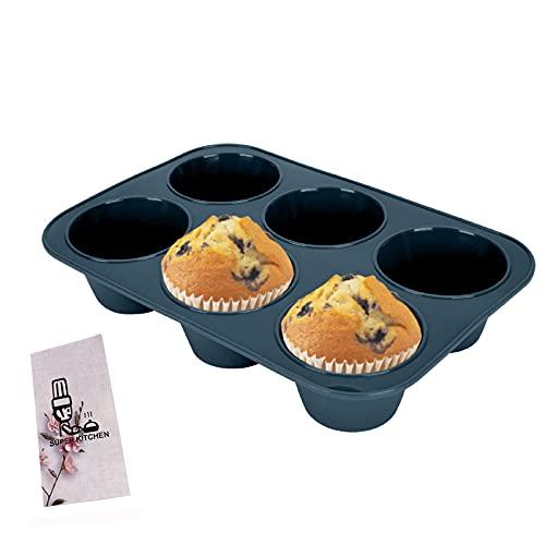 Große Muffinform aus Silikon für 6 Muffins, Antihaft Muffinblech Antihaftbeschichtet Backblech Backform für Cupcakes, Brownies, Kuchen, Pudding, 27,8 x 19 x 5 cm (Grau)