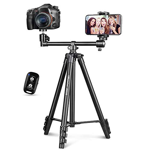 UBeesize 50-inch Phone Tripod Stand with Extended Arm, Portable Horizontal Tripod with 360° Adjustable Ball Head for Video Recording, Live Streaming and Photography