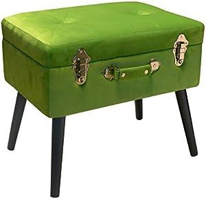 Pusher Bauletto Poggiapiedi, Legno, Verde, 41 x 30 x 58 cm
