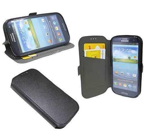ENERGMiX Elegante Buch-Tasche kompatibel mit Samsung Galaxy S3 i9300 / S3 NEO i9301 in Schwarz Leder Optik Wallet Book-Style
