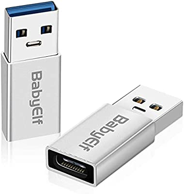 BabyElf USB 3.0 to USB-C Adapter [Pack of 2] - USB Type A (Male) to USB-C (Female) Converter Adapter for Data Sync