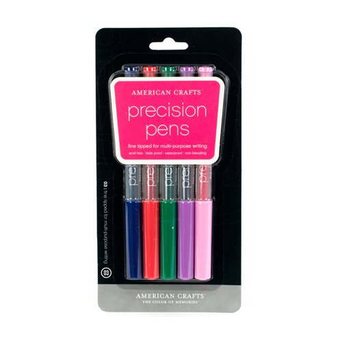 American Crafts Precision Pen 5-Pack.03 Point, Multi Color