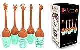 HelpCuisine® Pack de 5 Infusers infuseur de thé Filtre diffusseur passoire a thé Forme de Mains en Silicone à 100% Alimentaire sans BPA