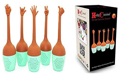 HelpCuisine® teesieb teeei teefilter Tea Infuser teekugel, Modernes Design aus hochwertigem Silikon 100% BPA frei (Gesten Teesieb)