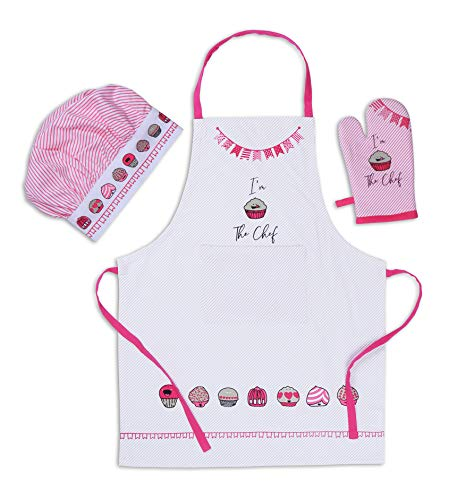 AMOUR INFINI Cup Cakes Baking 3 Pack Kids Kitchen Set | 100% Cotton | Set of Apron, Chef Hat and Oven Mitt |Perfect for Children's Kitchen Cooking, Baking Wear Kit and Gifting