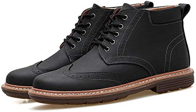 LOVDRAM Boots Men's Martin Boots Men'S Boots Fashion Leather Boots Men'S Cotton shoes Snow Boots Winter High Help Tool Boots Desert Boots Men'S shoes
