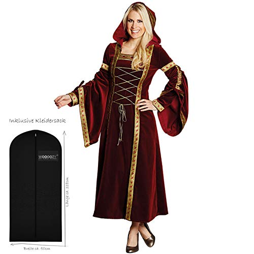WOOOOZY Damen-Kostüm Burgfrau Marianne, rot-Gold Gr.50 - inklusive praktischem Kleidersack