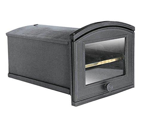Tradehub Backröhre Backkasten Backofen Ofen Pizzaofen Brotbackofen Holzofen Steinofen aus Gusseisen mit abnehmbares Fach und Ofenscheibe | Außenmaße: 320x240 mm | Öffnungsrichtung: Links