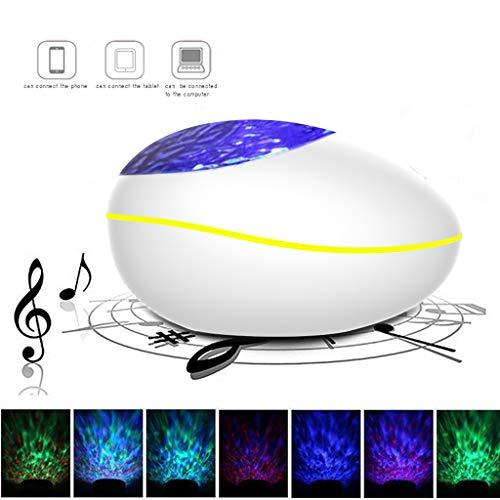 Bluetooth Afstandsbediening Nachtlamp, Kleurrijke Romantische Muziek Box Sfeer Lamp, Dimbare Projectie Lamp-Wit