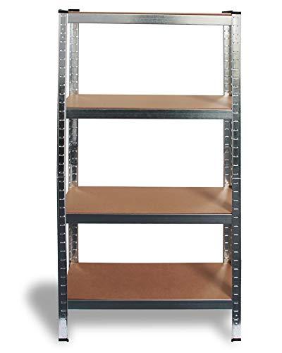 Ondis24 Metallregal Enno, Lagerregal 80x40x160(H) cm, Kellerregal 320kg silber, Steckregal mit 4 Einlegeböden höhenverstellbar, Werkstattregal 4x80kg belastbar, funktionales Schwerlastregal, verzinkt