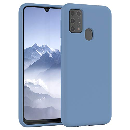 EAZY CASE Premium Silikon Handyhülle kompatibel mit Samsung Galaxy M31, Slimcover mit Kameraschutz & Innenfutter, Silikonhülle, Schutzhülle, Bumper, Handy Hülle, Hülle, Softcase, Stahl Blau