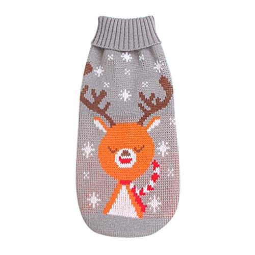 HAPPKING Christmas pet Clothes Christmas Reindeer Maple Leaf Snowflake Holiday pet Clothes Turtleneck Knitted Sweater Dog cat Costume Winter Coat (Farbe : Grey Reindeer, Größe : 3-5KG)