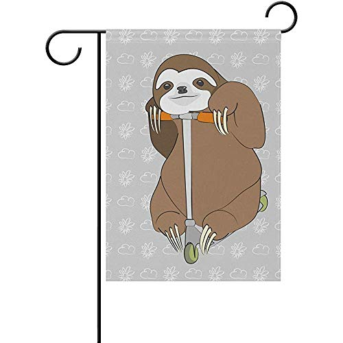 Yunnstrou Smiling Brown Sloth Riding On The Scooter Double Sided Garden Flag Best for Party Yard and Home Outdoor Decor - 12x18 inches