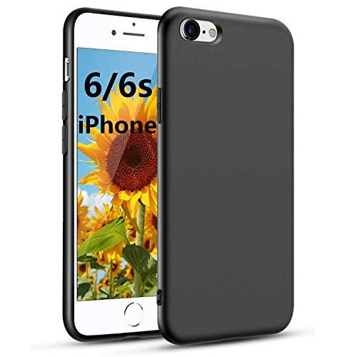 Für iPhone 6/6s Hülle iPhone 6/6s Handyhülle Schwarz Silikon Case Kompatibel mit iPhone 6/6s, Ultra Dünn Schwarz Weich Handyhülle Stoßdämpfend Anti Scratch Schutzhülle, Black