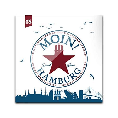 DStern Design - Moin! (W) - Der Hamburg-Untersetzer aus stabilem Echtglas für Hamburg | Glas-Untersetzer | Hamburger Geschenkidee | Hamburg-Geschenk | Quadratisch (10cm x 10cm)