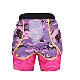 TZTED Schutzhosen Gepolsterte Protektorhosen Snowboard Shorts Fahrradhose Hüfte Kurze Hose 3D Gepolstert Kinder Herren Damen,Pink,S