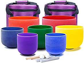 KVKA Colored Set of 7pcs Chakra Frosted Quartz Crystal Singing Bowl 7-12 inch with case