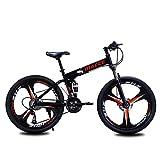 QHTC 26-Zoll-Variable Speed Doppel Stoßdämpfer Mountainbike, Faltbare Highland Bike, 3 Spoke, 21Speed,Schwarz