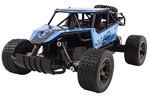 Voko USA Mad Turbo Diecast Body Remote Control RC Buggy Car Truck 2.4 GHz System 1:18 Scale Size RTR w/ Working Suspension, High Speed, Radio Control Off-Road Hobby Truggy Rechargeable (Blue)