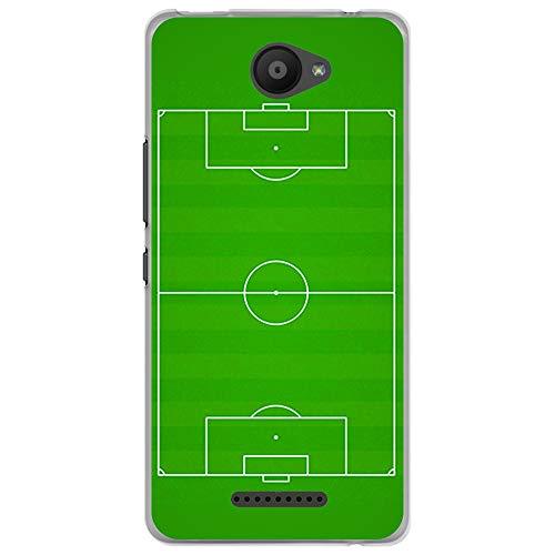 BJJ SHOP Funda Transparente para [ Bq Aquaris U Lite ], Carcasa de Silicona Flexible TPU, diseño: Campo de Futbol Verde