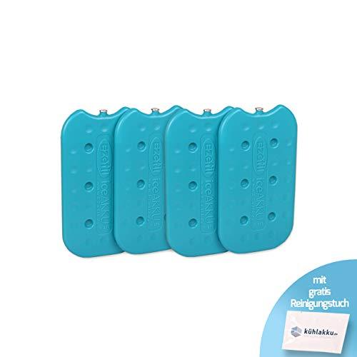 Lot de 4 blocs réfrigérants G270 EZetil - Conforme à la norme DIN 18864 - Capacité de refroidissement 10 h - Pour glacière et sacs réfrigérants - Turquoise - Avec chiffon de nettoyage inclus