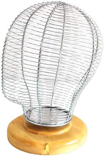Schneiderpuppe Weiblich verstellbar 21 '' Metal Perücke Display-Mannequin-Kopf-Modell mit Holzgestell for Hut Cap Toupet Brille anzeigen schneiderbüste ständer (Color : Silver)