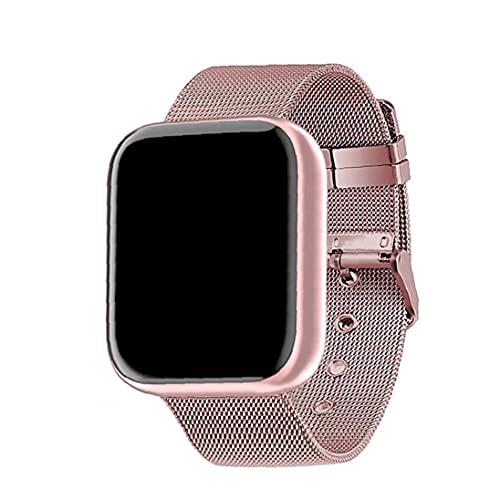 Berrywho Reloj Elegante Y68 Fitness Sport SmartWatch y Tiras de Acero Control de Actividad con la presión Arterial del Ritmo cardíaco Hombres Mujeres Rosa