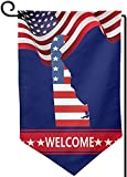 Map of The State of Delaware and American Premium Seasonal Welcome Banner and Outdoor Decor for House Porch, Lawn, Yard - Suits Standard Stands 12.5 x 18 Inch