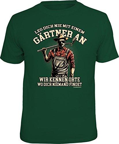 RAHMENLOS Original T-Shirt für den Gartenliebhaber: Leg\' Dich Nicht mit Einem Gärtner an…, Grün, L